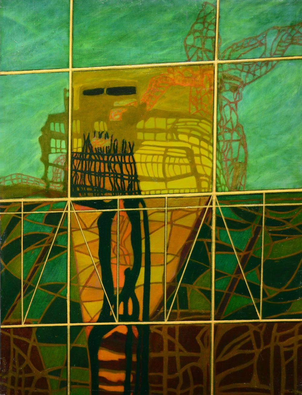 City Scene' by Stanley Mishkin (oil on wood)